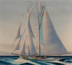 Sandor Bernathy Watercolor of a racing yacht under full sail - 1729171