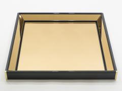 Sandro Petti Italian Mirror by Sandro Petti black lacquered brass mirrored 1970s - 996001