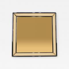 Sandro Petti Italian Mirror by Sandro Petti black lacquered brass mirrored 1970s - 998492
