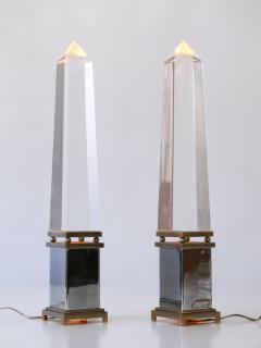 Sandro Petti Set of Two Lucite Obelisk Table Lamps by Sandro Petti for Maison Jansen France - 2134123
