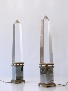 Sandro Petti Set of Two Lucite Obelisk Table Lamps by Sandro Petti for Maison Jansen France - 2134139