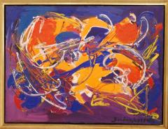 Sandro Von Lorsch Blue Orange Abstract Expressionist - 1177222