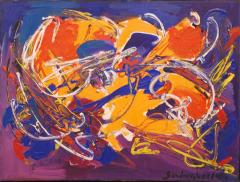 Sandro Von Lorsch Blue Orange Abstract Expressionist - 1177249
