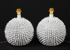 Santo Stefano Pair of Italian White Glazed Sculptural Modern Table Lamps By Santo Stefano - 1350048