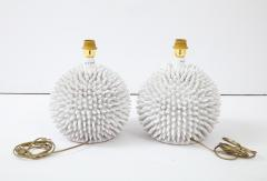 Santo Stefano Pair of Italian White Glazed Sculptural Modern Table Lamps By Santo Stefano - 1350074