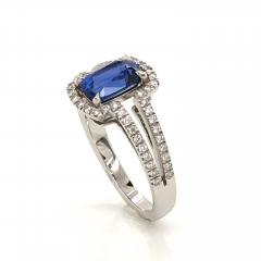 Saphir Ceylan and Whites Diamonds on White Gold 18 k Engagement Ring - 1164697