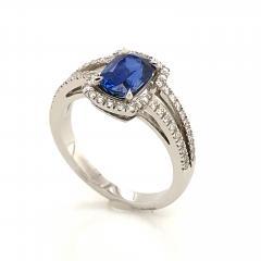 Saphir Ceylan and Whites Diamonds on White Gold 18 k Engagement Ring - 1164698