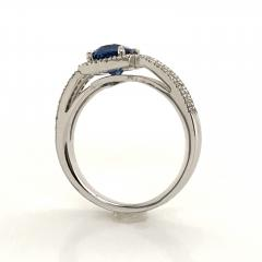 Saphir Ceylan and Whites Diamonds on White Gold 18 k Engagement Ring - 1164699