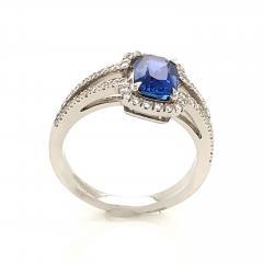 Saphir Ceylan and Whites Diamonds on White Gold 18 k Engagement Ring - 1164700