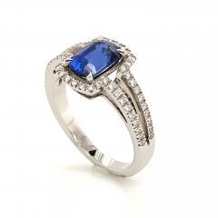 Saphir Ceylan and Whites Diamonds on White Gold 18 k Engagement Ring - 1164701