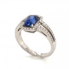 Saphir Ceylan and Whites Diamonds on White Gold 18 k Engagement Ring - 1164702