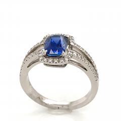 Saphir Ceylan and Whites Diamonds on White Gold 18 k Engagement Ring - 1164704