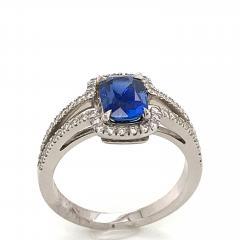 Saphir Ceylan and Whites Diamonds on White Gold 18 k Engagement Ring - 1164705