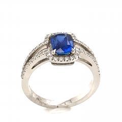 Saphir Ceylan and Whites Diamonds on White Gold 18 k Engagement Ring - 1164706