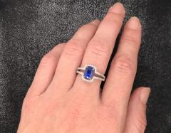 Saphir Ceylan and Whites Diamonds on White Gold 18 k Engagement Ring - 1164806