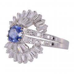 Sapphire Center Diamond Platinum Ring Size 7 5 - 1949807