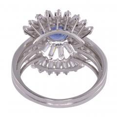 Sapphire Center Diamond Platinum Ring Size 7 5 - 1949808