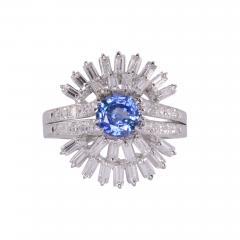Sapphire Center Diamond Platinum Ring Size 7 5 - 1950127