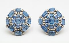 Sapphire Diamond Cluster Earclips - 301354