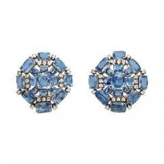 Sapphire Diamond Cluster Earclips - 301814