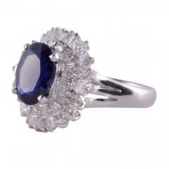 Sapphire Diamond Platinum Ring - 2139373