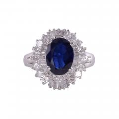 Sapphire Diamond Platinum Ring - 2139478