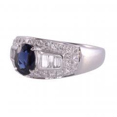 Sapphire Diamond Platinum Ring - 2146971