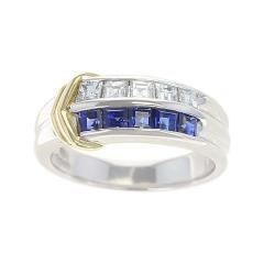 Sapphire and Diamond Channel Invisible Set Band Ring Two Yellow Gold Linings - 1795423