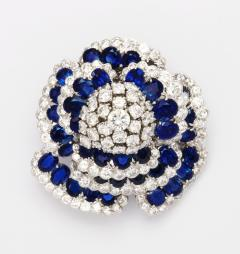 Sapphire and Diamond Flower Brooch - 189451