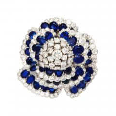 Sapphire and Diamond Flower Brooch - 189839