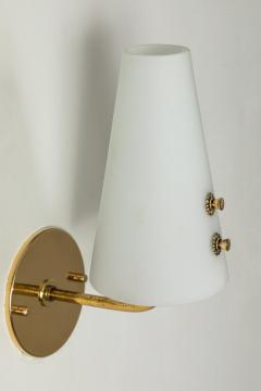Sarfati Stilnovo 1950s Italian Brass and Glass Sconces Attributed to Stilnovo - 1147340