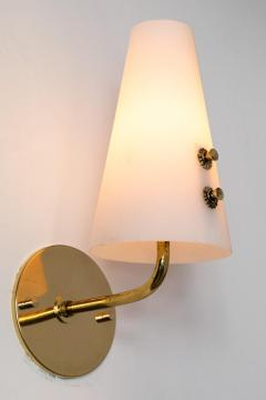 Sarfati Stilnovo 1950s Italian Brass and Glass Sconces Attributed to Stilnovo - 1147341