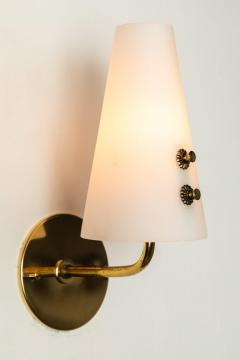 Sarfati Stilnovo 1950s Italian Brass and Glass Sconces Attributed to Stilnovo - 1147342