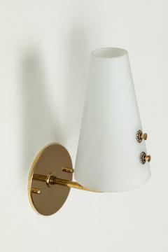 Sarfati Stilnovo 1950s Italian Brass and Glass Sconces Attributed to Stilnovo - 1147345