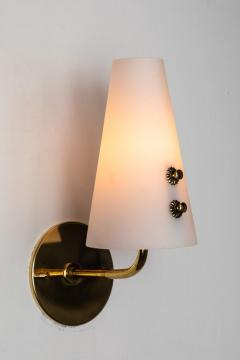 Sarfati Stilnovo 1950s Italian Brass and Glass Sconces Attributed to Stilnovo - 1147346