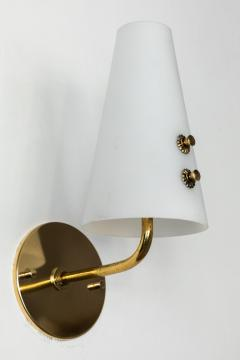 Sarfati Stilnovo 1950s Italian Brass and Glass Sconces Attributed to Stilnovo - 1147347