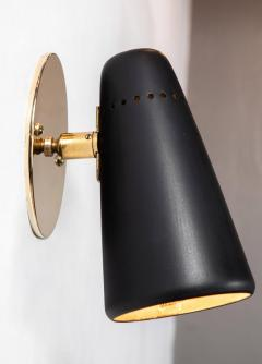 Sarfati Stilnovo 1950s Stilnovo Sconces in Black and Brass with Yellow Label - 1222188