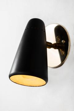 Sarfati Stilnovo 1950s Stilnovo Sconces in Black and Brass with Yellow Label - 1222193
