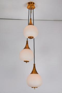 Sarfati Stilnovo 1950s bruno chiarini brass and glass chandelier for stilnovo - 1148235