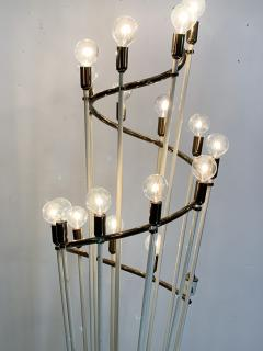 Sarfati Stilnovo MONUMENTAL MID CENTURY BRASS AND WHITE ENAMEL SPIRAL FLOOR LAMP - 1032355