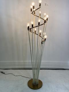 Sarfati Stilnovo MONUMENTAL MID CENTURY BRASS AND WHITE ENAMEL SPIRAL FLOOR LAMP - 1032360