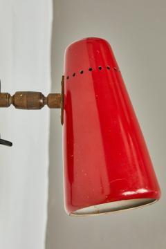 Sarfati Stilnovo Pair of Red 1950s Stilnovo Sconces with Original Yellow Label - 1173412