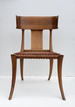 Saridis of Athens T H Robsjohn Gibbings Klismos Chair for Saridis of Athens in Walnut and Leather - 1847035