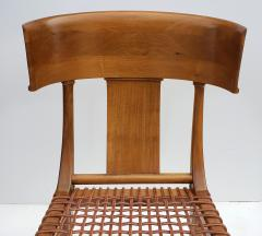 Saridis of Athens T H Robsjohn Gibbings Klismos Chair for Saridis of Athens in Walnut and Leather - 1847036
