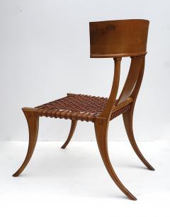 Saridis of Athens T H Robsjohn Gibbings Klismos Chair for Saridis of Athens in Walnut and Leather - 1847039