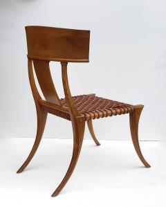 Saridis of Athens T H Robsjohn Gibbings Klismos Chair for Saridis of Athens in Walnut and Leather - 1847041