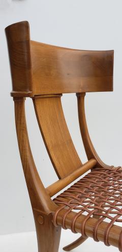 Saridis of Athens T H Robsjohn Gibbings Klismos Chair for Saridis of Athens in Walnut and Leather - 1847043