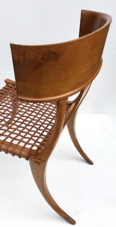 Saridis of Athens T H Robsjohn Gibbings Klismos Chair for Saridis of Athens in Walnut and Leather - 1847044