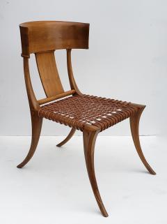 Saridis of Athens T H Robsjohn Gibbings Klismos Chair for Saridis of Athens in Walnut and Leather - 1847045