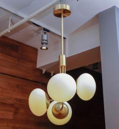 Satin Brass Suspension with Four Lights and Round White Glass Globe - 716221